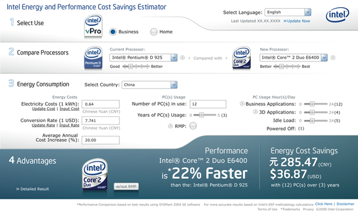 Intel EPC Estimator